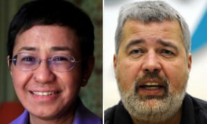 Maria Ressa (L), co-founder and CEO of the Philippines-based news website Rappler, and Dmitry Muratov (R), editor-in-Chief of Russia's main opposition newspaper Novaya Gazeta.