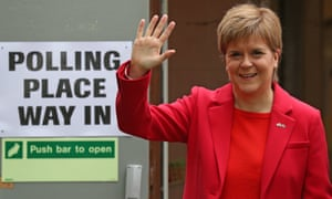 SNP leader Nicola Sturgeon leaves a polling station in Glasgow after casting her vote in the EU elections.