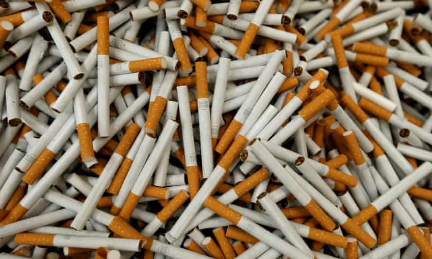 Lucky Strike cigarettes are seen during the manufacturing process in a British American Tobacco factory