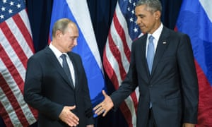 Vladimir Putin with Barack Obama last month. 'Our perception of Russians as people is also skewed by their language, and the way they speak it.'