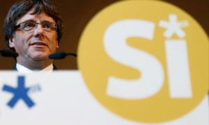 The Catalan president, Carles Puigdemont, attends a pro-independence rally