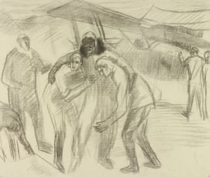 Carline's charcoal drawing of his flying partner, Captain Moody, being helped from his aircraft, October 1918.