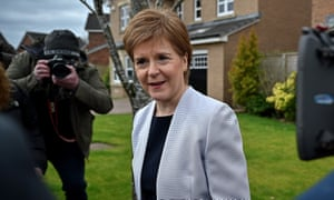 Scotland's first minister Nicola Sturgeon leaves her home in Glasgow on Monday morning.