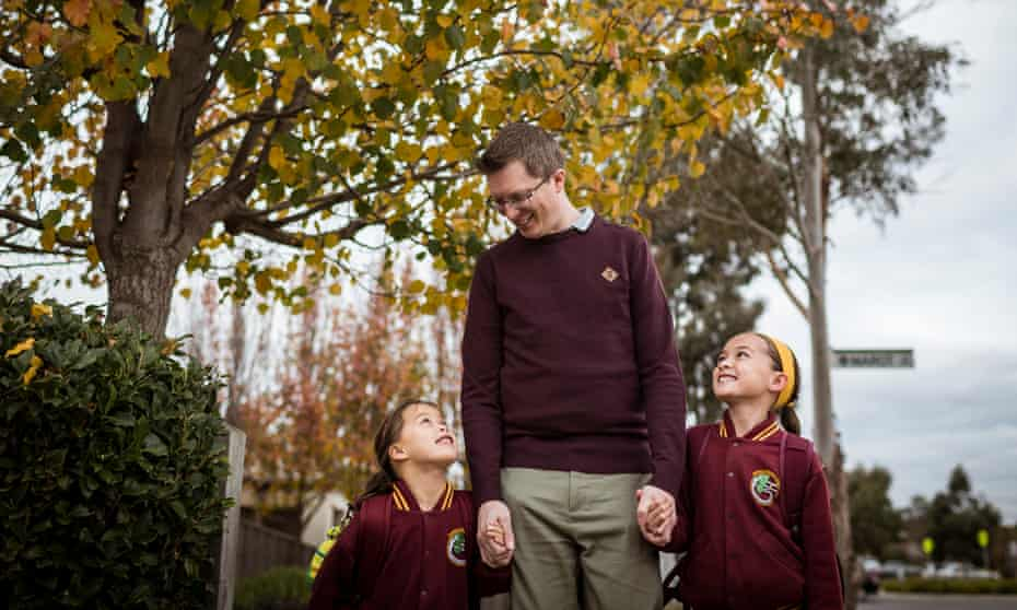 Dwyer walks home from school in Mernda with his two daughters