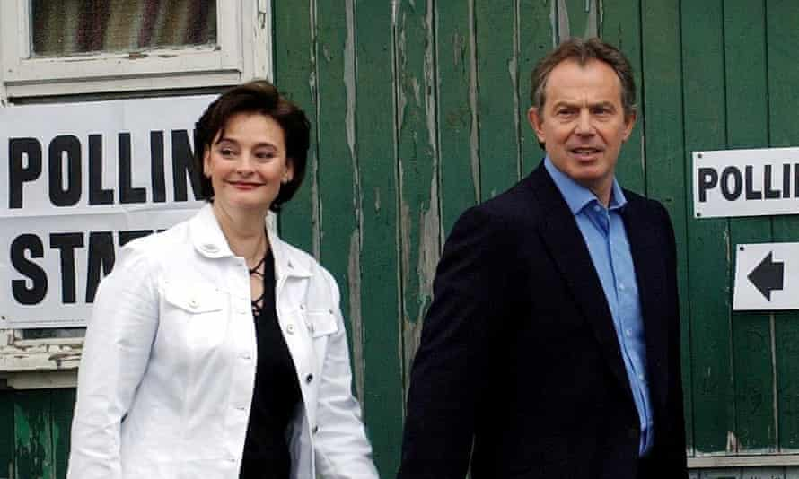 cherie and tony blair on polling day in the may 2005 general election