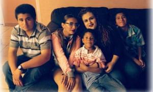 Mariza Ruelas with her children.