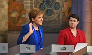 The BBC Host The First Scottish Leaders DebateEDINBURGH, SCOTLAND - MAY 21: Nicola Sturgeon, leader of the SNP, Scottish Conservative Party leader Ruth Davidson,during BBC Scotlands live election debate with the Scottish political party leaders at Mansfield Traquair Centre on May 21, 2017 in Edinburgh, Scotland. Britain goes to the polls on June 8 to elect a new parliament in a general election. (Photo by Jeff J Mitchell/Getty Images)