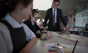 Pupils at an art class at a secondary school