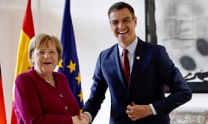 German Chancellor Angela Merkel and Spain's Prime Minister Pedro Sanchez meet ahead of a European Union leaders summit after European Parliament elections in Brussels
