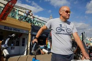 Mark Hedger at his bike shop, Brighton