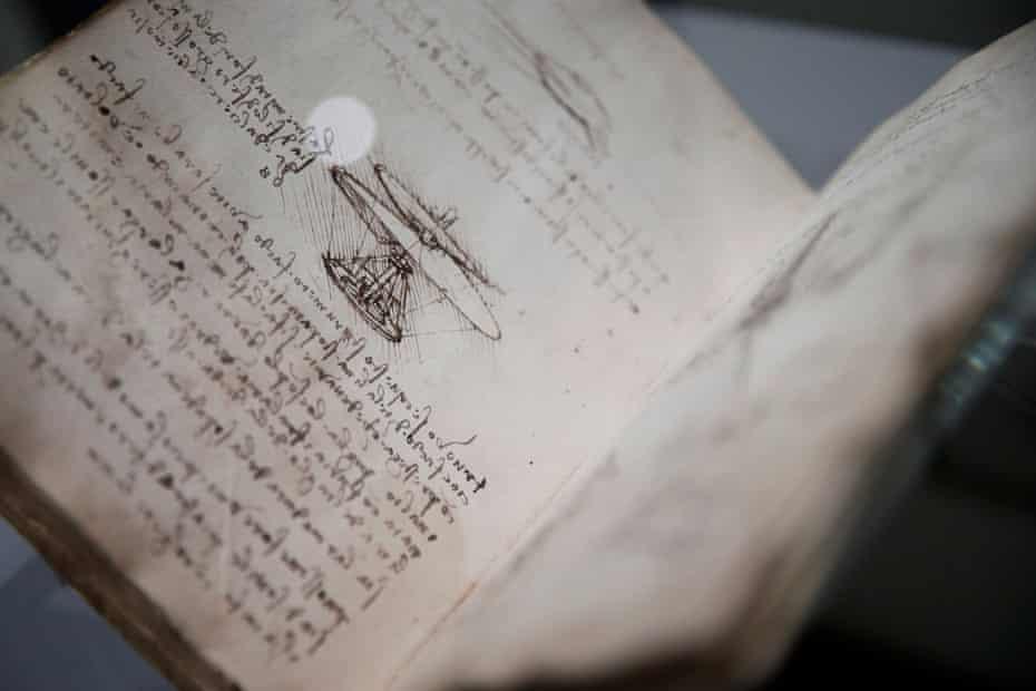 Drawings of one of Leonardo's flying machines.