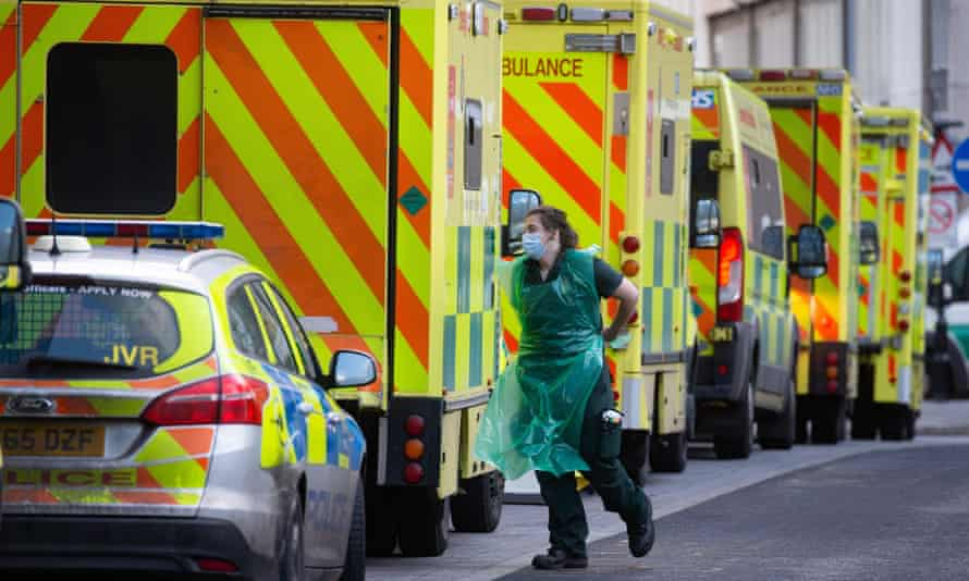 Ambulances at the Royal London Hospital., Whitechapel, London, UK - 06 Jan 2021