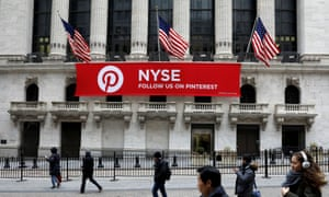 A Pinterest banner hangs on the facade of the New York stock exchange.