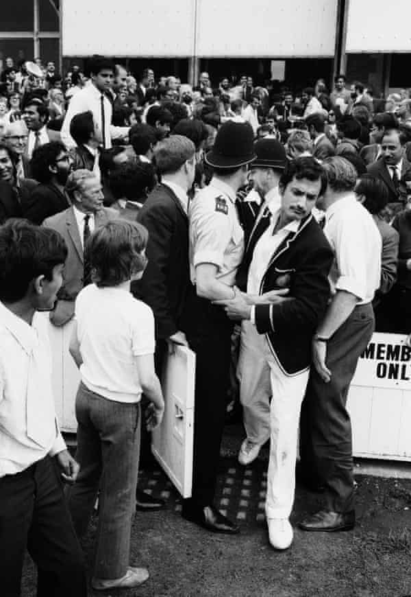 Ajit Wadekar makes his way on to the pitch for the presentations after India won the third Test against England at The Oval in 1971.