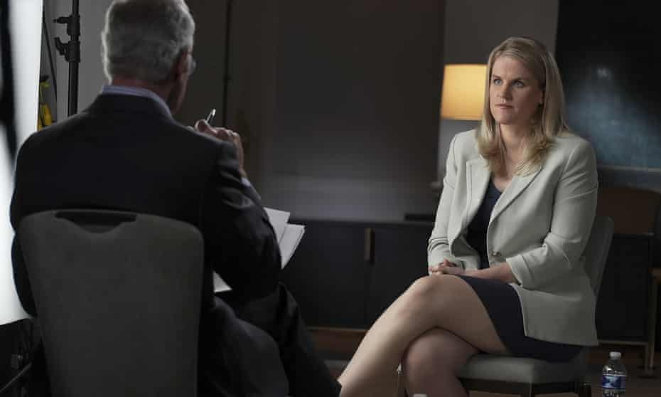 Frances Haugen, a former Facebook employee, talks with CBS' Scott Pelley on 60 Minutes in an episode that aired 3 October.