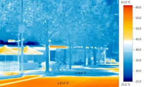 Thermal image showing the impact of urban heat islands and the cooling effect of greenery in Melbourne, Australia.