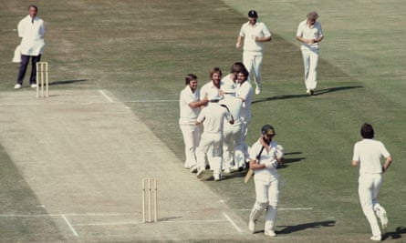 Ian Botham is congratulated after dismissing Ray Bright LBW first ball, part of his spell of five for one to win the fourth Test at Edgbaston in 1981