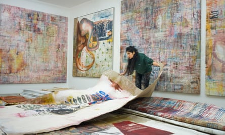 Mandy El Sayegh at work in her studio.