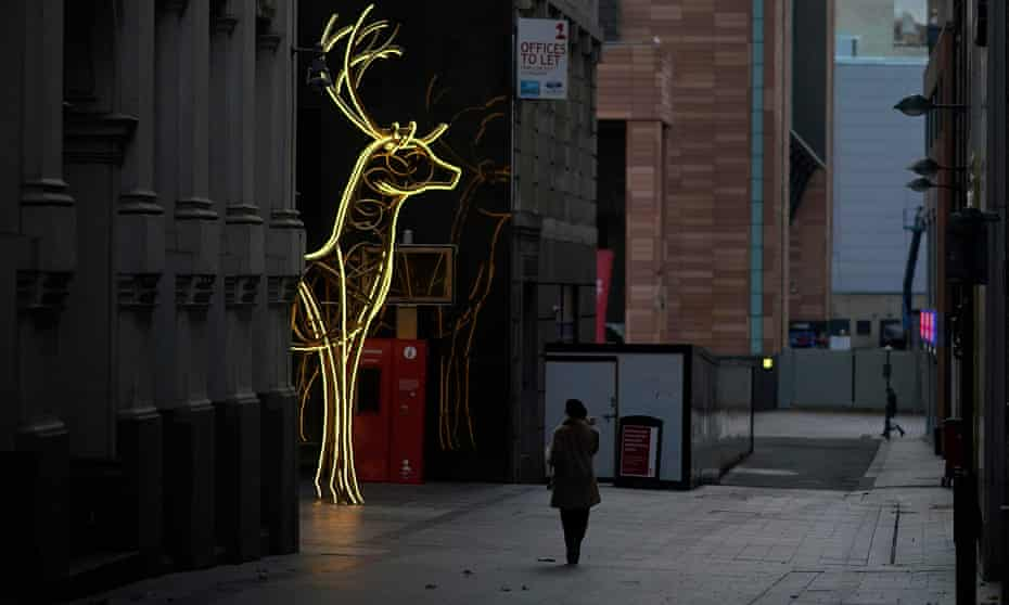 Christmas decorations in Liverpool city centre, which was near-deserted last week due to lockdown restrictions.