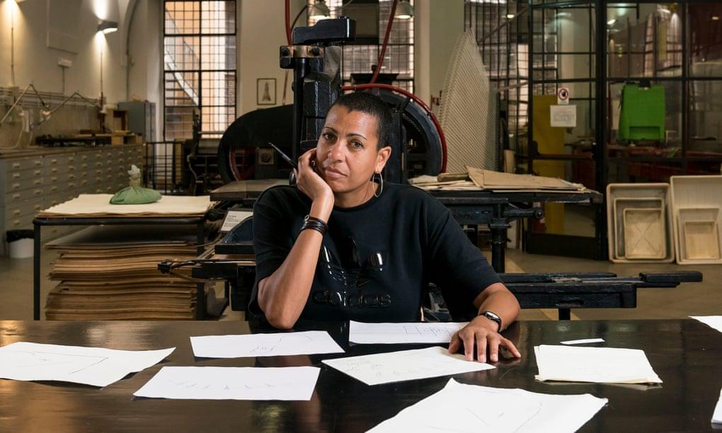 Helen Cammock at the engraving laboratory of Istituto Centrale della Grafica, Rome.