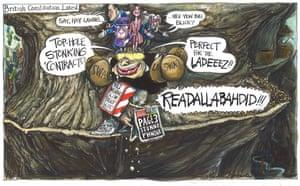 Martin Rowson cartoon 13.3.21: Boris Johnson hawking lucrative contracts, royal family on his head