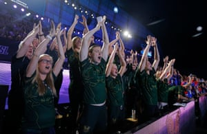 Members of the London Roar team including Cate Campbell of Australia (centre) start a thunder clap to support their team in the men's 4x100m freestyle relay.