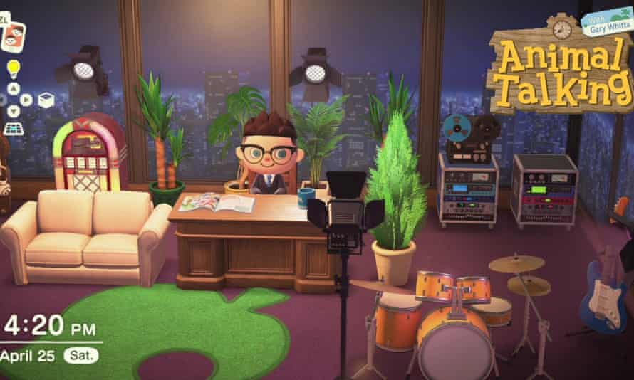 Gary Whitta's Animal Crossing character sits in the virtual environment he built for his online talk show.