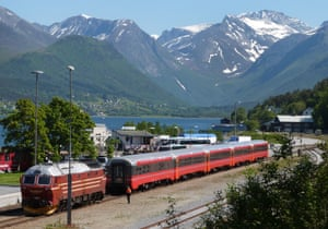 A train at Andalsnes of the Rauma Railway to Dombas