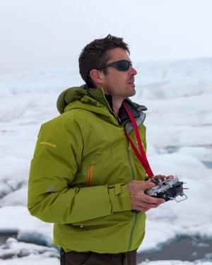 L: Joseph Cook operates a drone to capture data. Photo courtesy of Joseph Cook.