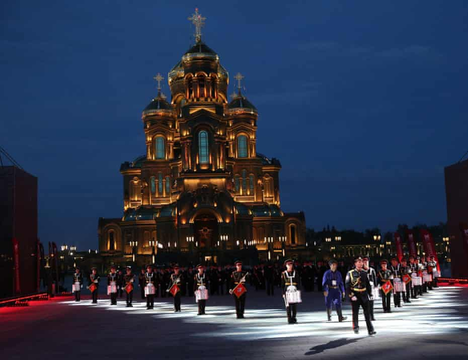 A Russian military band march in front of the cathedral during a military music festival in September.
