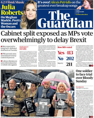 Guardian front page 15 march 2019