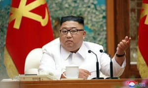 This picture taken on 25 July 2020 and released from North Korea's official Korean Central News Agency (KCNA) on 26 July shows North Korean leader Kim Jong Un attending an emergency enlarged meeting of Political Bureau of WPK Central Committee at an undisclosed location.