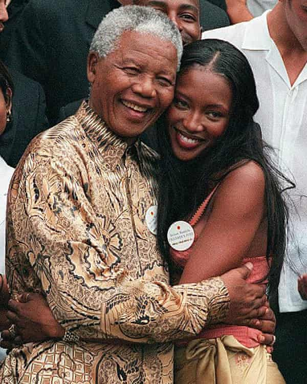 Campbell and Nelson Mandela in 1998