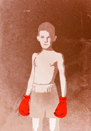 portrait illustration of child with boxing gloves.