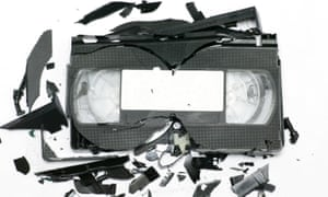 Record breakers … a smashed VHS.