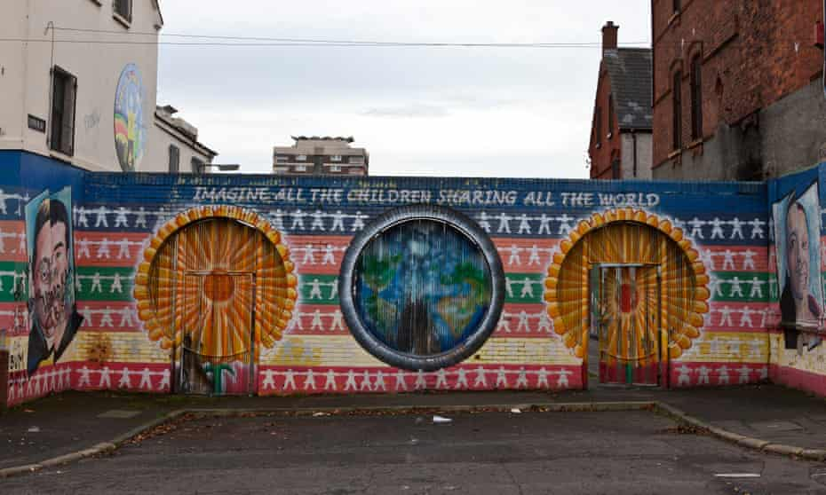 A peace mural on a wall in the New Lodge area of north Belfast.