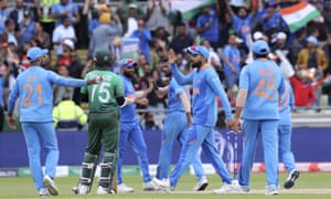 Indian cricketers celebrate the dismissal of Bangladesh's Liton Das.