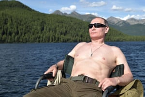 August 2017: Sunbathing during his vacation in the remote Tuva region in southern Siberia