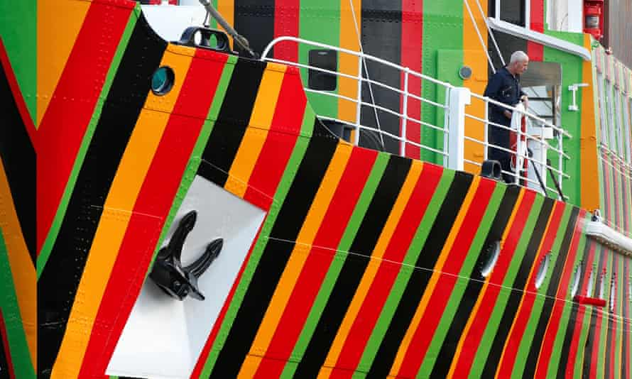 The 'Dazzle Ship' at the Albert Dock in Liverpool, 2014.