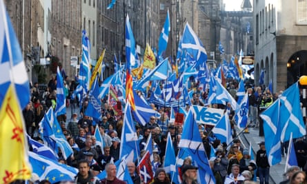 Protesters with lots of saltires