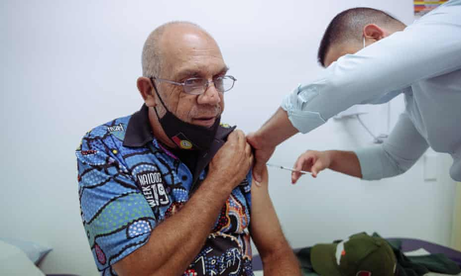 Cecil Phillips from Redfern receives his AstraZeneca vaccination at the Aboriginal Medical Service in Redfern