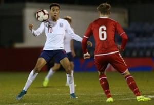 Jamal Musiala in action for England Under-17s against Denmark last November.