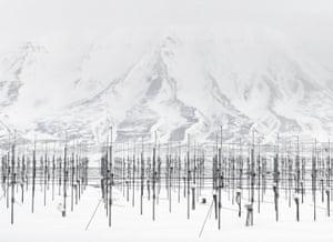 An antenna field on Spitsbergen Island in Norway. 2010