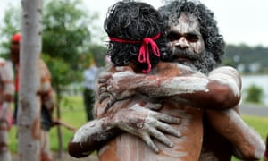 Aboriginal dancers at Barangaroo Reserve as part of Australia Day in Sydney, Thursday, Jan. 26, 2017.