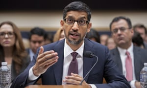 Sundar Pichai appears before the House judiciary committee on Capitol Hill on 11 December.
