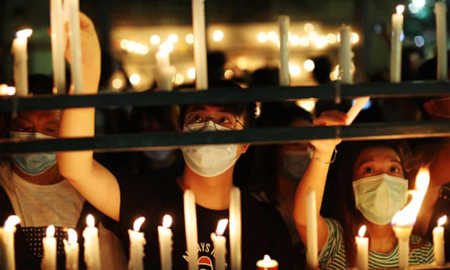 Hong Kong Alliance in Support of Patriotic Democratic Movements of China organises the city's annual Tiananmen Square massacre vigil