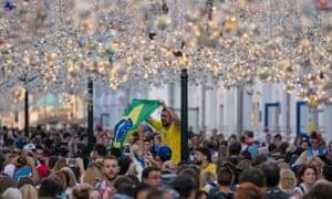 Fans in Nikolskaya Street