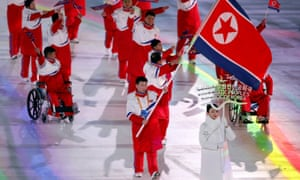 North Korean athletes parade during the opening ceremony at the 2018 Winter Olympics in Pyeongchang, South Korea.