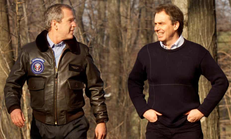 George W. Bush and Tony Blair at Camp David in 2001.
