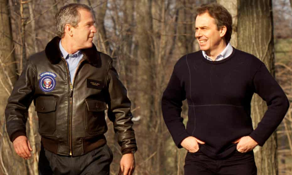 George W Bush and Tony Blair at Camp David in 2001. Blair believed his only hope of influencing the US president was by displaying complete loyalty.